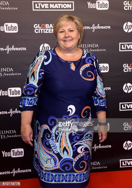Norwegian Prime Minister Erna Solberg attends the Global Citizen Festival at the Barclaycard Arena on July 6 2017 in Hamburg Germany