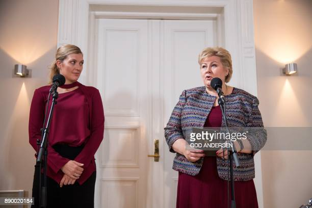 Norwegian prime minister Erna Solberg delivers a speech next to Nobel Peace Prize laureate Beatrice Fihn leader of ICAN prior to a meeting at her...
