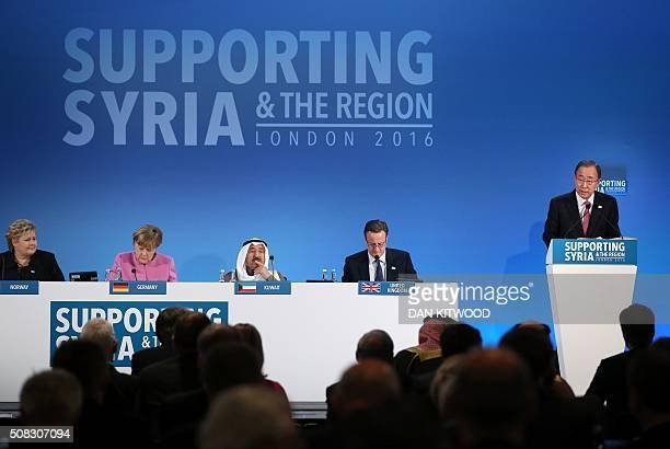 Norwegian Prime Minister Erna Solberg German Chancellor Angela Merkel the Emir of Kuwait Sheikh Sabah alAhmad alSabah and British Prime Minister...