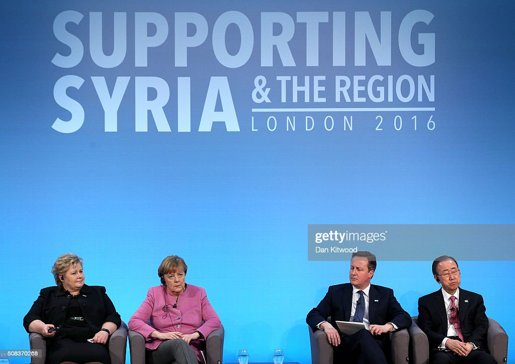 Norwegian Prime Minister Erna Solberg, German Chancellor Angela Merkel, British Prime Minister David Cameron and UN Secretary-General Ban Ki-moon attend the 'Supporting Syria Conference' at The Queen Elizabeth II Conference Centre on February 4, 2016 in London, England. World leaders including British Prime Minister David Cameron and German Chancellor Angela Merkel will gather for the 4th annual donor conference in an attempt to raise £6.2bn GBP to those affected by the war in Syria.