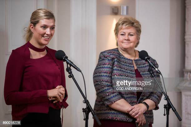 Norwegian prime minister Erna Solberg listens to Nobel Peace Prize laureate Beatrice Fihn leader of ICAN prior to a meeting at her residence in Oslo...