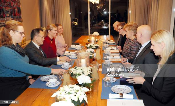 Norwegian Prime Minister Erna Solberg meets with members of the International Campaign to Abolish Nuclear Weapons this year's Nobel Peace Prize...