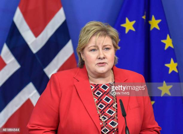 Norwegian Prime Minister Erna Solberg talks during a joint press conference with European Commission President JeanClaude Juncker on January 21 2015...