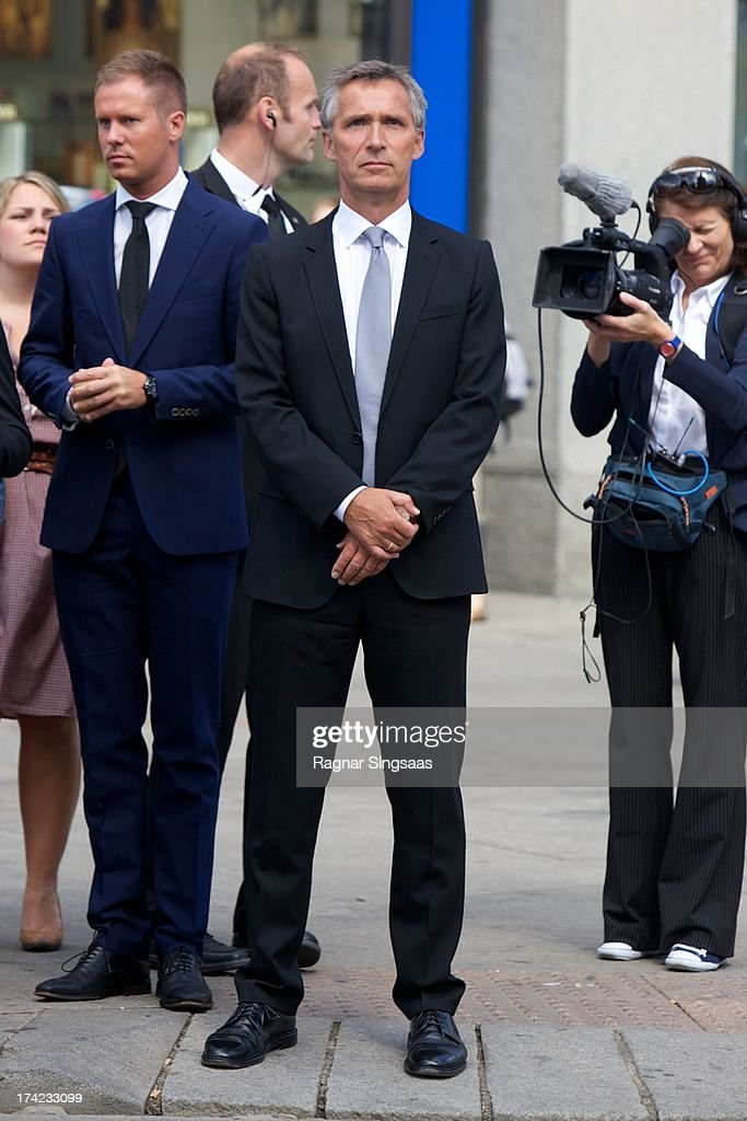 Norwegian Prime Minister Jens Stoltenberg attends a memorial service for the victims of the 2011 terrorist attacks on July 22, 2013 in Oslo, Norway.