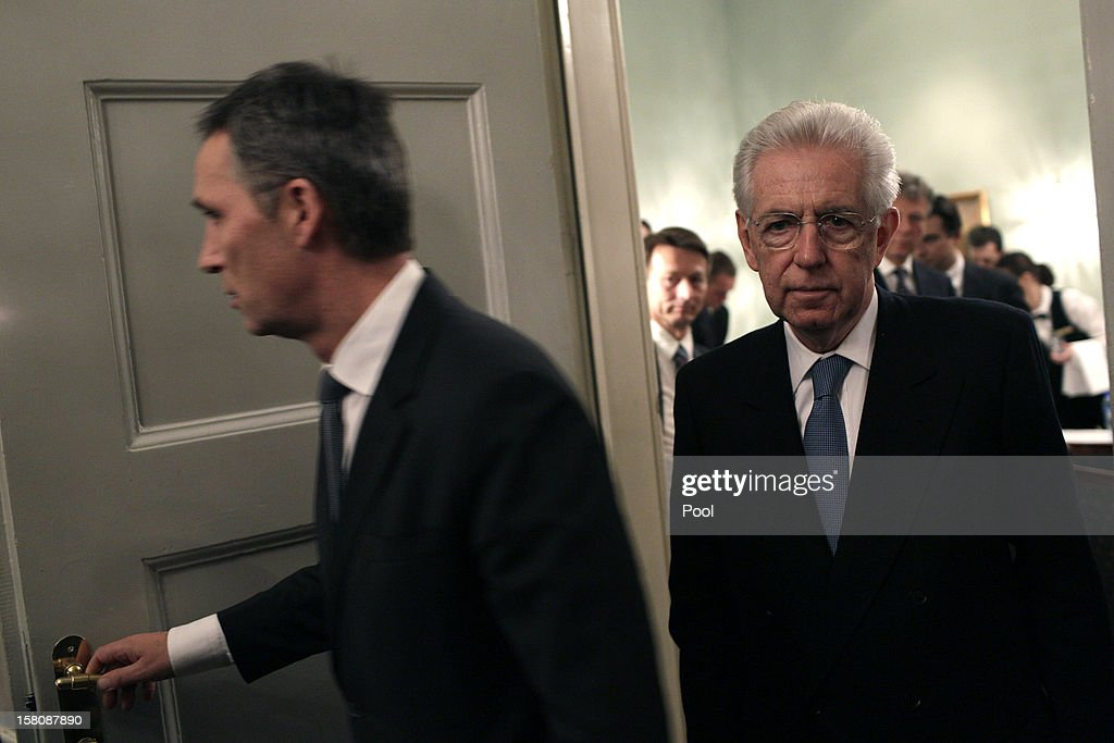 Norwegian Prime Minister Jens Stoltenberg (L) is followed by Italian Prime Minister Mario Monti before addressing the press after a working luncheon at the Gamle Logen hosted by Norway's Prime Minister for the EU leaders while they attend the Nobel Peace Prize Award Ceremony at Oslo City Hall on December 10, 2012 in Oslo, Norway. The European Union is collecting this year's prestigious Nobel Peace Prize for uniting the continent after two World Wars especially while during economic crisis.