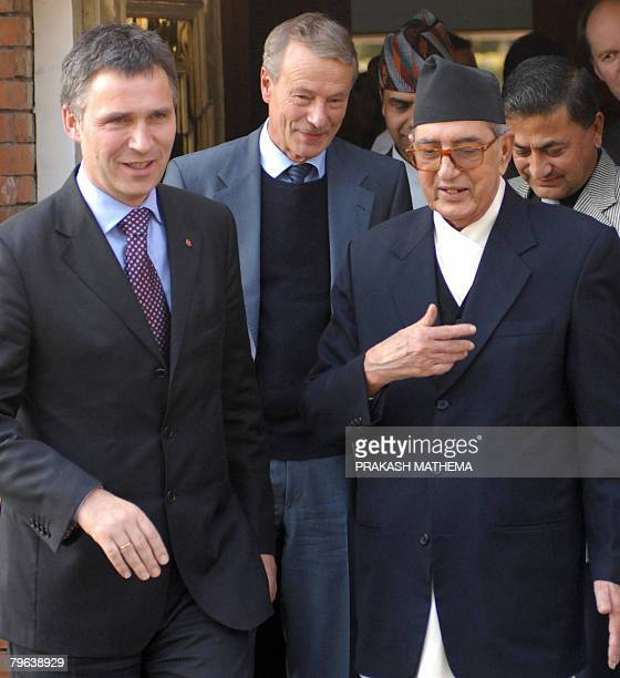 Norwegian Prime Minister Jens Stoltenberg speaks with Nepalese Prime Minister Girija Prasad Koirala in Kathmandu February 8 2008 The Norwegian Prime...