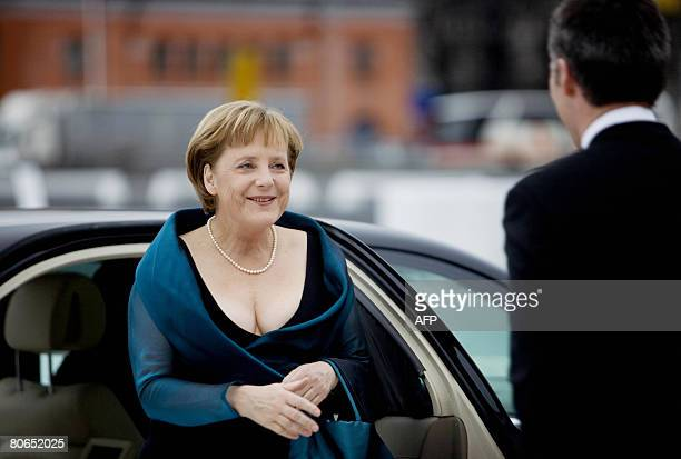 Norwegian Prime Minister Jens Stoltenberg welcomes German Chancellor Angela Merkel on April 12 2008 to the new opera building in Oslo Oslo's new...