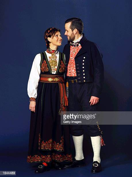 Norwegian Princess Martha Louise and her fiance Ari Behn pose for portraits in traditional dress in a studio May 22 2002 in Trondheim Norway The...