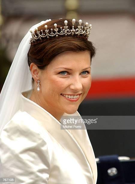 Norwegian Princess Martha Louise leaves the Royal Residence for her wedding to writer Ari Behn May 24 2002 in Trondheim Norway