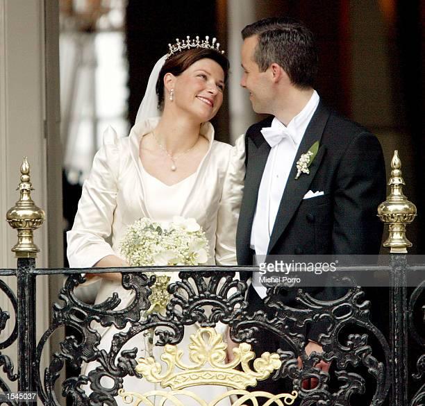 Norwegian Princess Martha Louise smiles at her new husband writer Ari Behn after their wedding May 24 2002 in Trondheim Norway