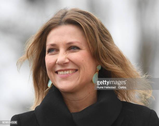 Norwegian Princess Martha Louise visits Kurland School on March 7 2018 in Sarpsborg Norway