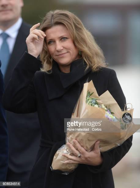 Norwegian Princess Martha Louise visits Kurland School on March 7 2018 in Sarpsborg Norway