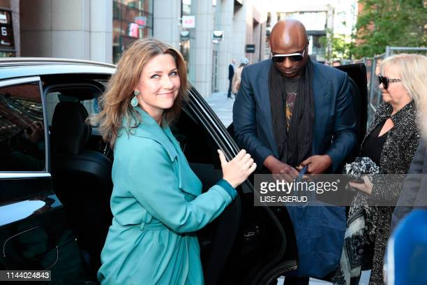Norwegian princess Märtha Louise and her boyfriend US shaman Durek Verrett arrive on May 16 2019 to take part in the morning show God Morgen Norge at...