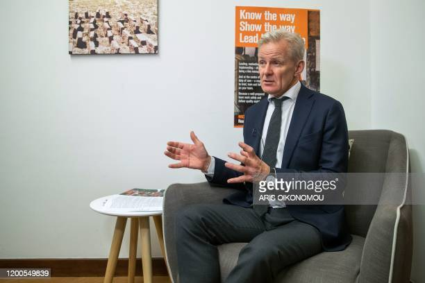 Norwegian Refugee Council Secretary General Jan Egeland gestures during an interview after a meeting on Yemen at EU Commission in the NGOs...