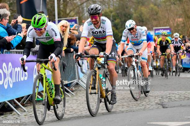 Norwegian rider Edvald Boasson Hagen of Team Dimension Data and Slovakian rider Peter Sagan of Bora-Hansgrohe pedal during the 102nd edition of the...