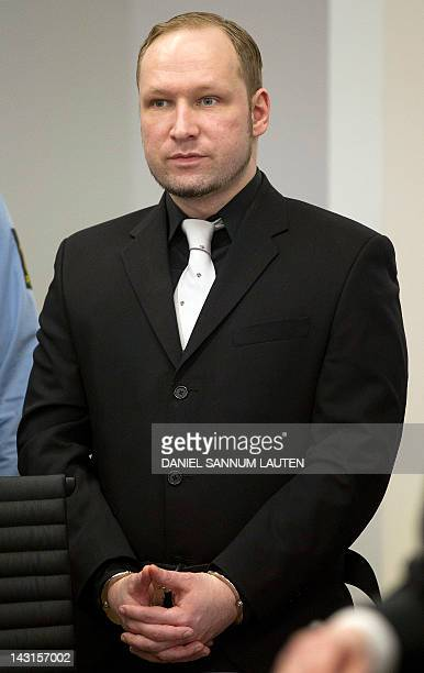 Norwegian rightwing extremist Anders Behring Breivik arrives in room 250 of the central court in Oslo after a lunch break during his trial on April...