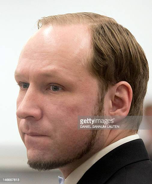 Norwegian rightwing extremist Anders Behring Breivik arrives on June 22 2012 in the courtroom in Oslo on the last day of the trial His defense is...