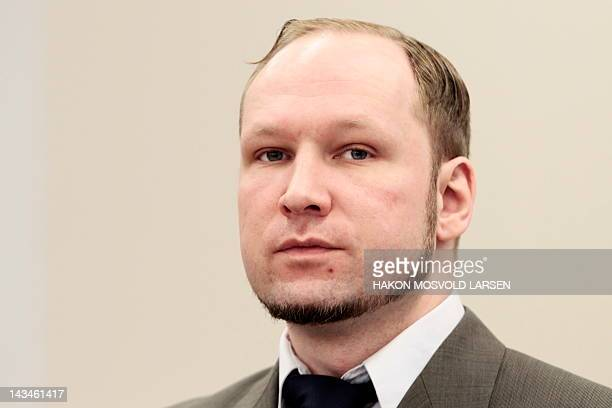 Norwegian rightwing extremist Anders Behring Breivik who killed 77 people in twin attacks in Norway last year is pictured at Oslo court on April 27...