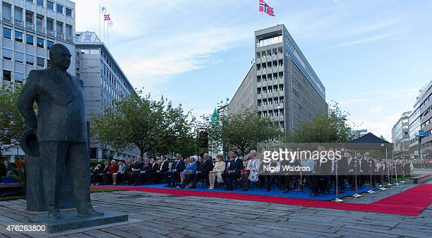 Norwegian Royal Family attend the unveiling of a statue of King Olav V at the City Hall Square on June 7 2015 in Oslo Norway
