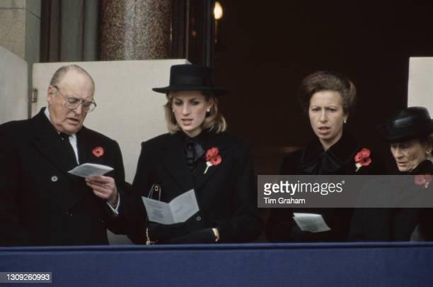 Norwegian Royal Olav V of Norway alongside British Royals Princess Diana , Anne, Princess Royal, and Princess Alice, Duchess of Gloucester , each...