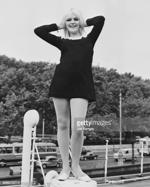 Norwegian singer Gro Anita Schonn abroad the HMS 'Chrysanthemum' UK 11th July 1968