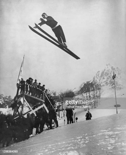 Norwegian ski jumper Jacob Tullin Thams takes flight as he competes in the ski jump event of the 1924 Winter Olympics in Chamonix, France, 4th...