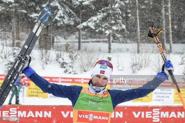 Norwegian skier Jan Schmid celebrates at the end of the individual Gundersen of the FIS Nordic Combined World Cup on January 20 2018 in ChauxNeuve...