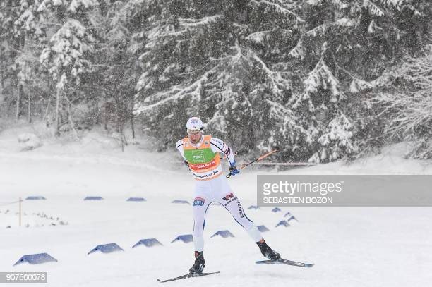 Norwegian skier Jan Schmid competes during the individual Gundersen of the FIS Ski Nordic Combined World Cup on January 20 2018 in ChauxNeuve eastern...