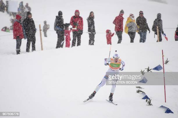 Norwegian skier Jan Schmid competes during the individual Gundersen of the FIS Nordic Combined World Cup on January 20 2018 in ChauxNeuve eastern...