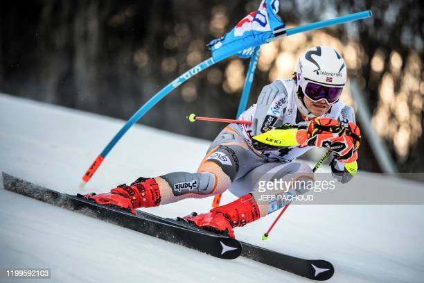 Norwegian skier Lucas Braathen competes during the Audi FIS Alpine Ski World Cup Men's Parallel Giant Slalom in Chamonix France on February 9 2020