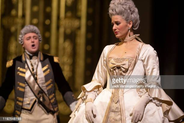 Norwegian soprano Lise Davidsen , with Russian baritone Igor Golovatenko , performs during the final dress rehearsal prior to the season revival of...
