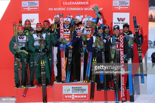 Norwegian team takes 1st placeGerman team takes 2nd placeFrench team takes 3rd place during the FIS Nordic World Cup Men's and Women's Nordic...