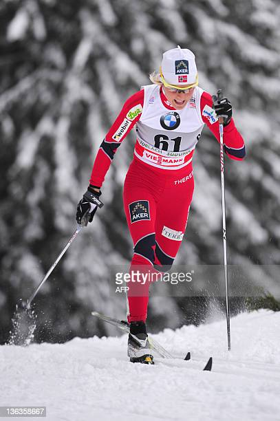 Norwegian Therese Johaug competes in the ladies' Tour de Ski nordic skiing 33 Km classic individual event in Toblach on January 3 2011 Marit AFP...