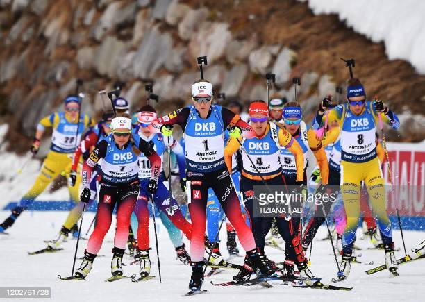 Norwegian Tiril Eckhoff Slovak Ivona Fialkova Norwegian Marte Olsbu Roiseland German Denise Herrmann German Vanessa Hinz and Swedish Hanna Oberg take...