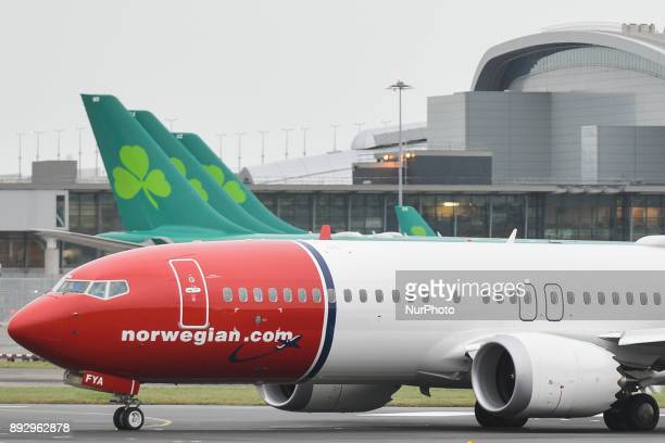 A Norwegiancom plane is about to take off on the runway at Dublin airport On Thursday 14 December 2017 in Dublin Ireland