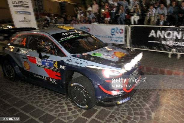 Norwegians Andreas Mikkelsen and codriver Anders JaegerSynnevaag steer their Hyundai i20 Coupe WRC for the start of the 2018 FIA World Rally...