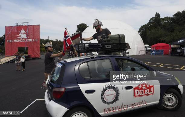 Norwegians Inge Nogva and Gaute Eide sort out the roof rack on their Toyota after they arrived at LondonOtildes Battersea Park to take part the 11th...