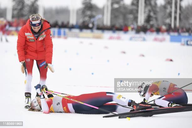 Norwegians winner Therese Johaug 3rd placed Astrid Uhrenholdt Jacobsen and 2nd placed Heidi Weng react in the finish of the women's cross country...