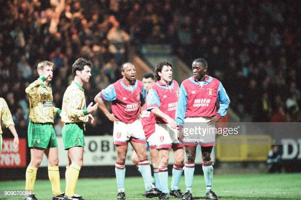 Norwich 10 Aston Villa League match at Carrow Road Wednesday 24th March 1993 Cyrille Regis Dean Saunders Dwight Yorke