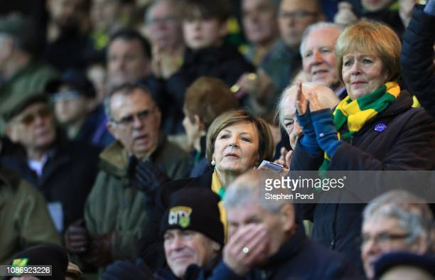 Norwich City Director Delia Smith looks on during the Sky Bet Championship match between Norwich City and Nottingham Forest at Carrow Road on...