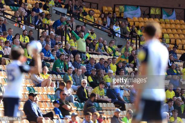 Norwich City fans are seen inside the stadium during the Sky Bet Championship match between Norwich City and Preston North End at Carrow Road on...