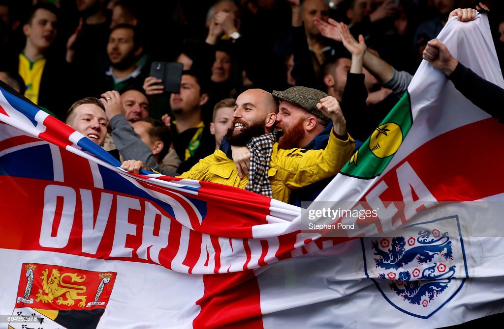 Norwich City fans celebrate victory at the end of the Sky Bet Championship match between Ipswich Town and Norwich City at Portman Road on October 22, 2017 in Ipswich, England.