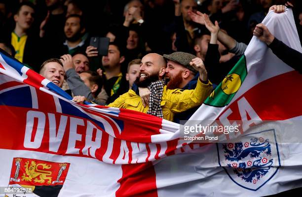 Norwich City fans celebrate victory at the end of the Sky Bet Championship match between Ipswich Town and Norwich City at Portman Road on October 22...