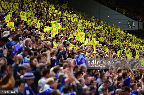 Norwich City fans show their support prior to the Sky Bet Championship Playoff semi final second leg match between Norwich City and Ipswich Town at...