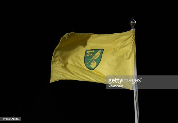 Norwich City flag during the Premier League match between Norwich City and Liverpool FC at Carrow Road on February 15 2020 in Norwich United Kingdom