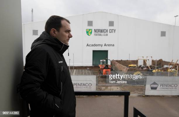 Norwich City football club's sporting director Stuart Webber looking over new building work on the club's academy at the Colney training centre on...