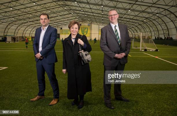 Norwich City football club's sporting director Stuart Webber owner Delia Smith and managing director Steve Stone pose for a picture in their academy...