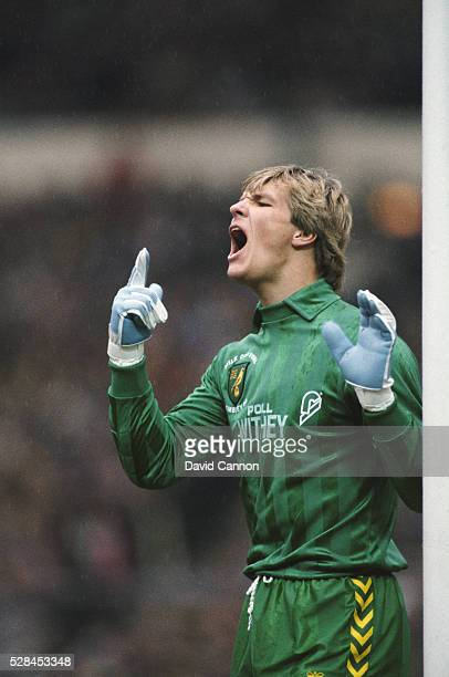 Norwich City goalkeeper Chris Woods reacts during the 1985 League Cup Final win against Sunderland at Wembley Stadium on March 24, 1985 in London,...