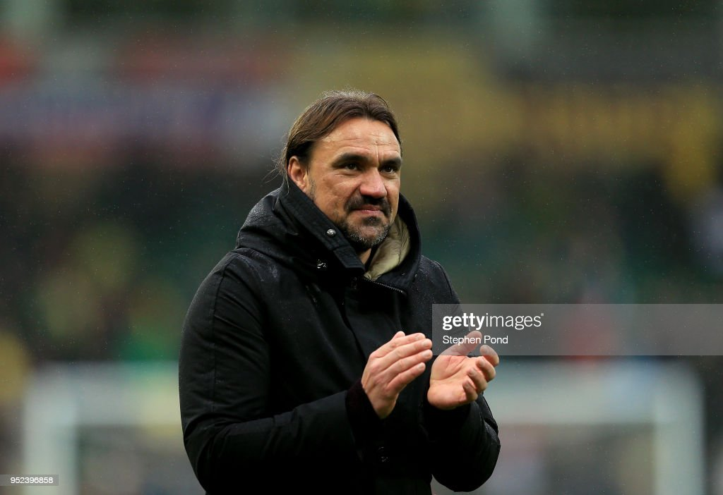 Norwich City Head Coach Daniel Farke celebrates victory after the Sky Bet Championship match between Norwich City and Leeds United at Carrow Road on April 28, 2018 in Norwich, England.