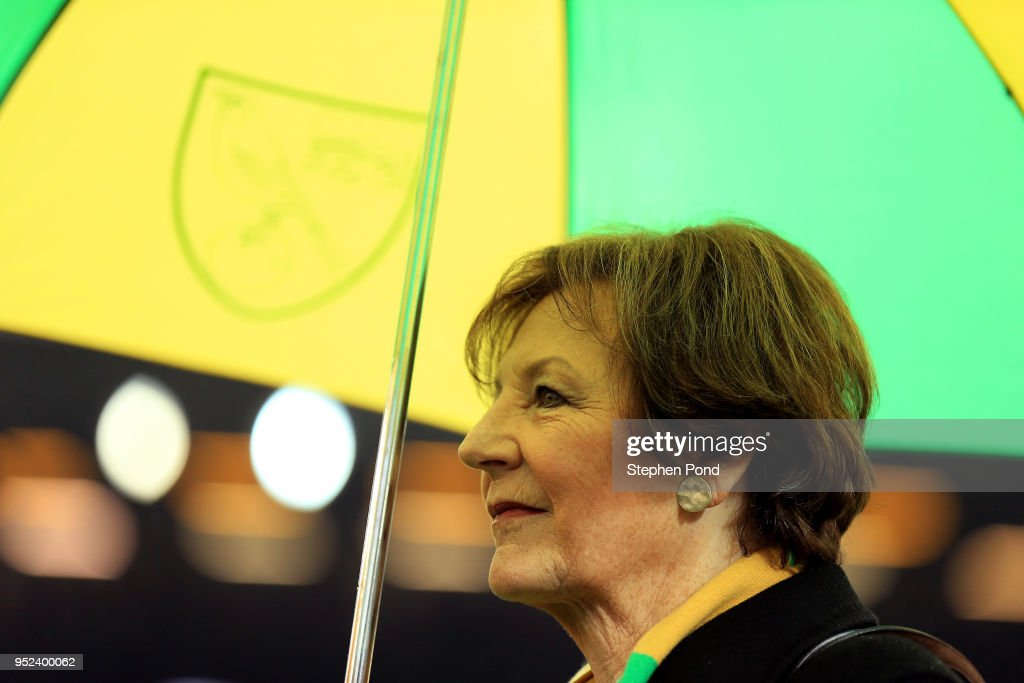 Norwich City Majority Shareholder Delia Smith during the Sky Bet Championship match between Norwich City and Leeds United at Carrow Road on April 28, 2018 in Norwich, England.
